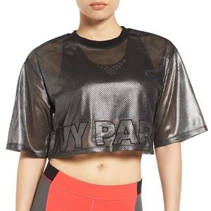 Ivy Park Metallic Mesh Crop Top Logo Gunmetal